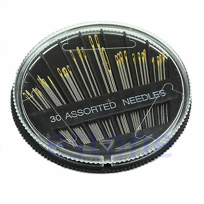 30 X Assorted Size Hand Sewing Needles Case Craft Quilt Embroidery Mending Sew