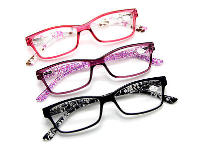 Women's Small Flowers Prints Spring Hinges Reading Glasses Reader Many Strengths