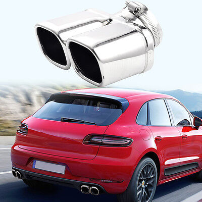 Car Exhaust Tip Chrome Tail Pipe Cover Trim Stainless Steel Y-Pipe Dual/Dual New