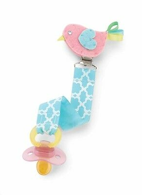 New MUD PIE Baby PACIFIER PACY CLIP Embroidered Felt Ribbon PINK BLUE CHICK BIRD