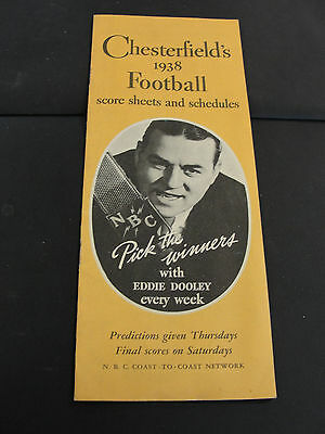 Vintage 1938 Chesterfield's FOOTBALL Score Sheets & Schedules Cigarettes Ad back