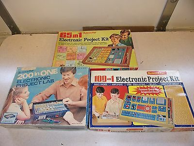 Lot of 3 Vintage Science Fair Electronic Project Kits Toys