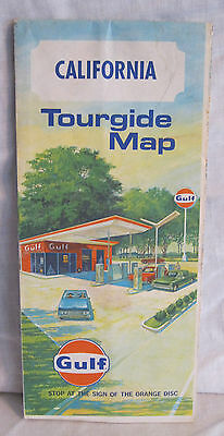 CALIFORNIA TOURGIDE HIGHWAY MAP  34 x 18 Gulf Travel Card 1970 Holiday Inn
