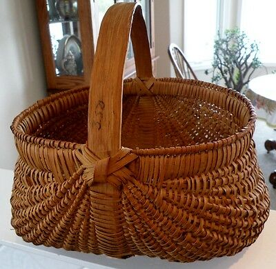 Large and Finely Woven Vingage Southern Splint Oak Buttocks-Style Market Basket