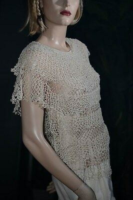 Lim's Vintage Cotton Hand Crochet Top With Multi-Layers Natural Small