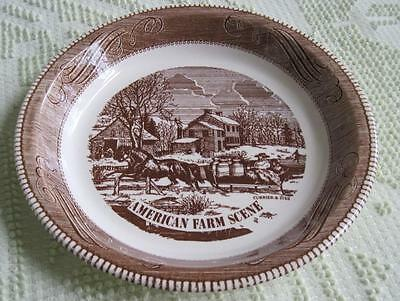 """Royal China Currier & Ives Blue Transfer Ware 10"""" Home Sweet Home Serving Bowl"""