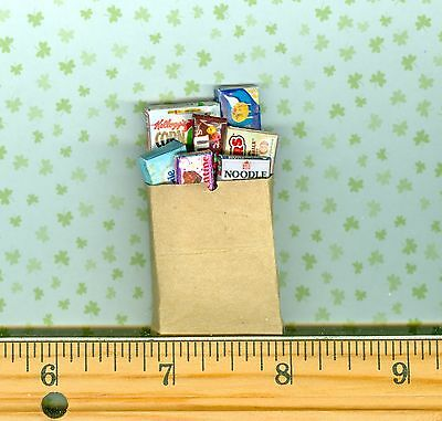 Dollhouse Miniature Size Grocery Bag / Sack with Groceries Fun 4 Kitchens # 278