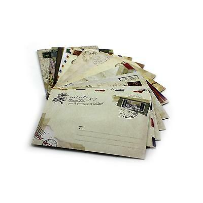 12x Durable Vintage Mini Envelope Stationery Craft Kit for Message Card Postcard