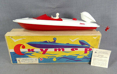 50s VINTAGE SOVIET RUSSIAN SPEED BOAT MOTORBOAT SCOOTER 'MOSCOW' BATTERY TOY BOX