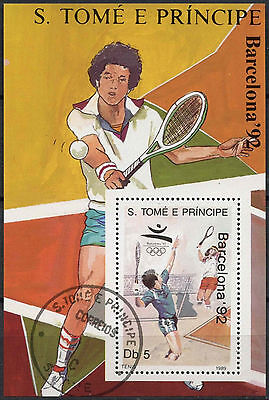 St. Thomas & Prince Islands 1989 Tennis Olympics Cto Used M/S #A86790
