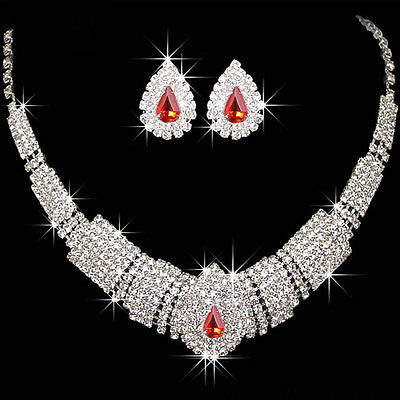 Elegant Wedding Bridal Prom Rhinestone Crystal Necklace Earrings Jewelry Sets