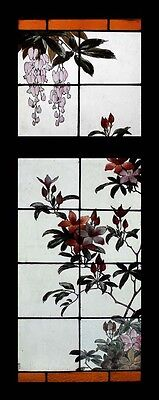 Royal Doulton Painted Flowers Antique Stained Glass Windows Very Rare