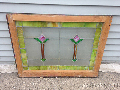 Antique 1920s Leaded Stained Glass Window Privacy Glass From Chicago 32 by 25
