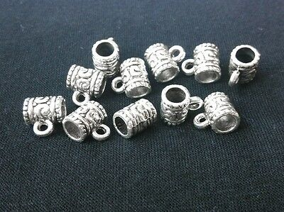 50pc 9mm Tibetan Silver Style Big Hole Bracelet Charms Spacer Bail Linker Beads
