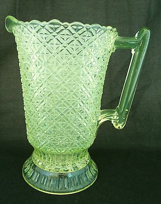 "EAPG Vaseline Glass Pitcher Finecut Pattern 4 Mold Marks 8 3/4"" Tall"