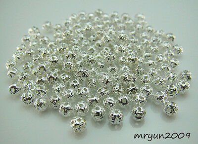 FREE 200PCS Jewelry Design Silver plate Hollow Round spacer Beads Findings 4MM