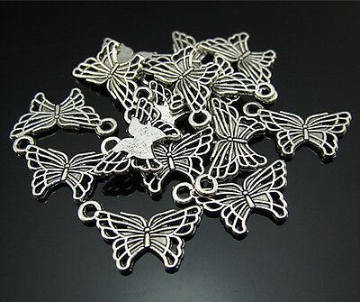 FREE Lots 50PCS Beautiful Butterfly Tibetan silver Findings Pendant Beads 18mm