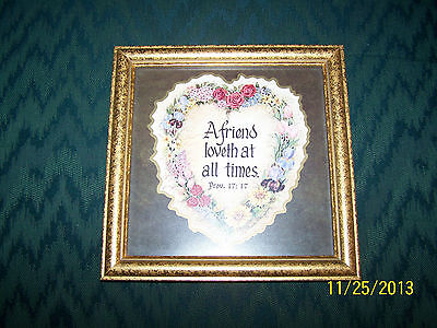 """Home Interior Stand Up/ Wall Hang Picture 8 1/4"""" x 8 1/4""""  Heart with Prov.17:17"""