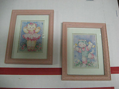 """Home Interior Active Cats Pictures 7""""x9"""" pair"""
