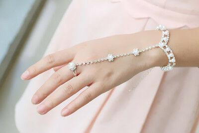 Silver Crystal Pearls Hand Chain Slave Ring Bracelet Wedding Bridal Jewelry