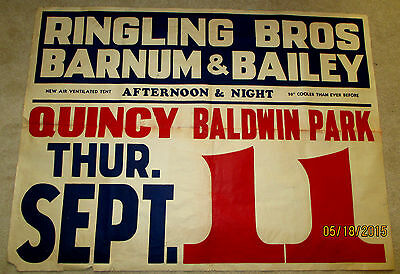 """VINTAGE RINGLING BROS & BARNUM & BAILEY CIRCUS POSTER-QUNICY,IL- 56"""" X 41""""-SIGN"""