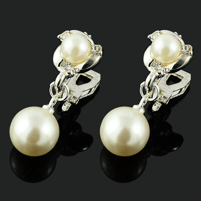 Clip On Chic Cream Ivory Pearl Crystal Rhinestone Dangle Drop Silver Earrings