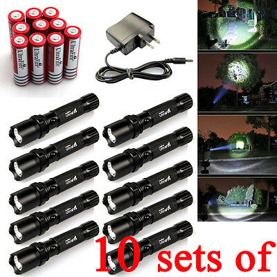 10X Ultrafire 3in1 Q5 Tractical Led Flashlight Torch Battery Charger Cree USA