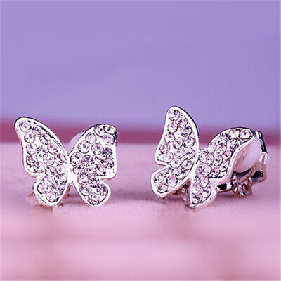Xmas Gift Clip On Chic Butterfly Crystal Diamante Rhinestone Silver Earrings