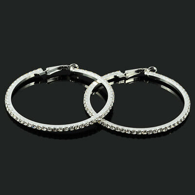 Clip On Creole Crystal Round Diamante Rhinestone Silver Hoops Circle Earrings