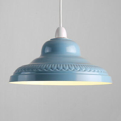 Vintage Retro Blue Metal Ceiling Pendant Light Lamp Shade Lampshade Lights NEW