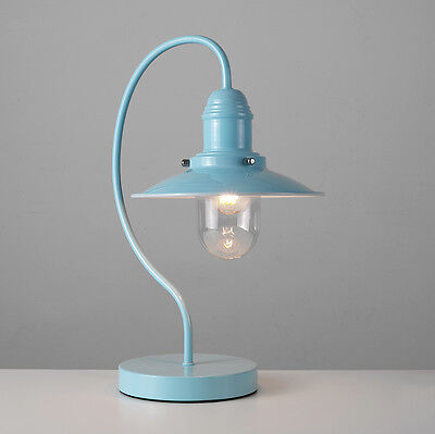 Traditional Duck Egg Blue Fishermans Style Curved Touch Bedside Table Light Lamp