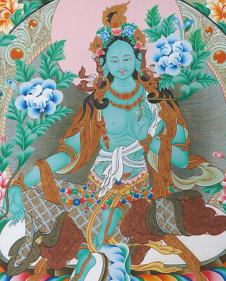 "16"" Natural Mineral Color Silkprint Classic Tibetan Thangka:beautiful Green Tara"