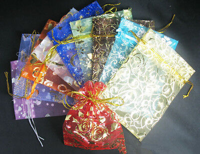 FREE TOP 50Pcs Organza Jewellery Xmas Holidays Cards Party Supply Gift Wrap Bags