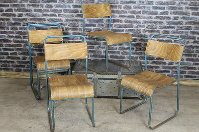 Industrial Retro Stacking Chairs With Blue Frames Large Quantity Available