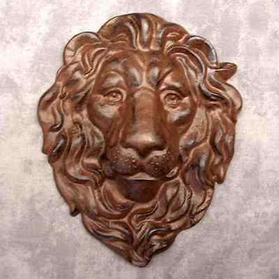 MAJESTIC LION HEAD Cast Iron WALL SCULPTURE ~ ANTIQUED BROWN ~