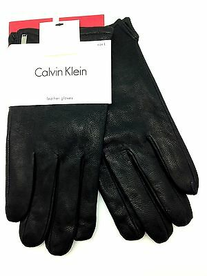 Calvin Klein Men Leather Bestselling Touch Screen Gloves Black Sz L Hand Protect
