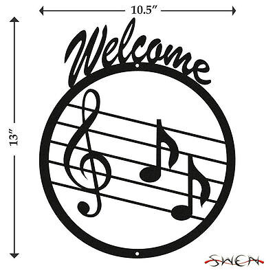 SWEN Products MUSIC NOTE TREBLE CLEF Black Metal Welcome Sign
