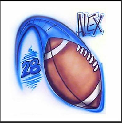 Airbrushed Swooshing Football with name and number- Any colors!