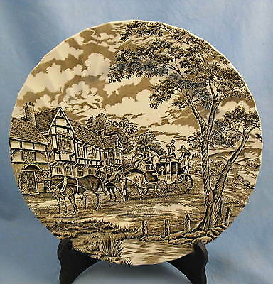 """Myott Royal Mail Brown/White  --Dinner Plate - 10"""" -- Made in England"""