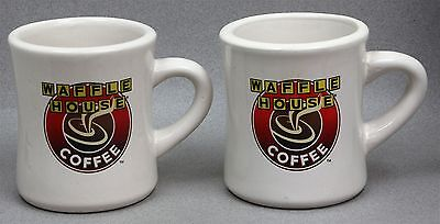 Set of 2 WAFFLE HOUSE HEAVY CERAMIC COFFEE CUP MUG DINER RESTAURANT WARE