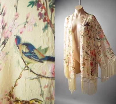 Vtg-y 20s Japanese Asian Floral Bird Print Plus Kimono 137 mv Jacket 1X 2X 3X