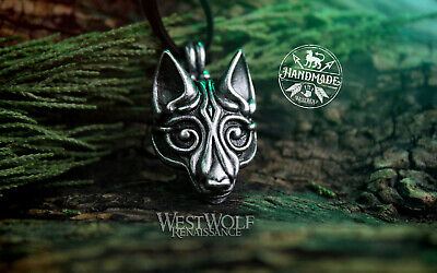 Silver Viking Wolf Head Pendant --- Norse/Fenrir/Medieval/Leather/Jewelry/Skyrim