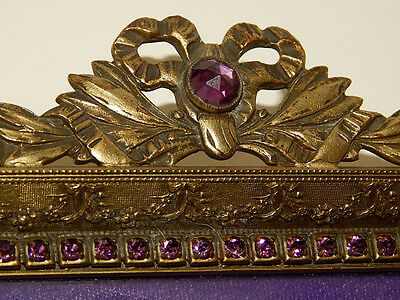 Antique E & J. B. Empire Art Jeweled Ormolu Gold Footed Vanity Perfume Tray