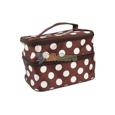 Unique Dots Pattern Double Layer Cosmetic Bag Makeup Bags Cases Brown