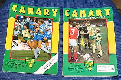 Norwich City Home Programmes 1986-1987
