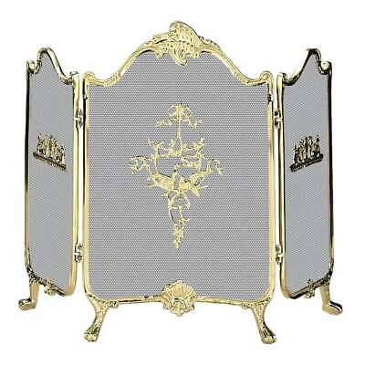 Uniflame 3 Fold Ornate Fully Cast Solid Brass Screen - S-9099