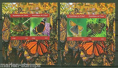 Chad 2015 Butterflies Set  Of Two  Deluxe Imperforate Souvenir Sheets Mint Nh