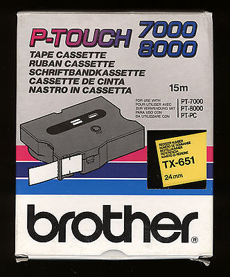1x BROTHER TX-651 P-touch 24mm Farbband BLACK / YELLOW > PT-7000, PT-8000, PT-PC