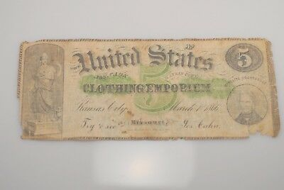 Rare 1866 Obsolete Five $5 Note R7 Kansas City Missouri Cahn Clothing Emporium