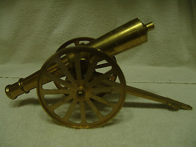 "LARGE VINTAGE SOLID BRASS CANNON W/BRASS WHEELS 15"" LONG 3.5"" WIDE 5 1/4"" High"